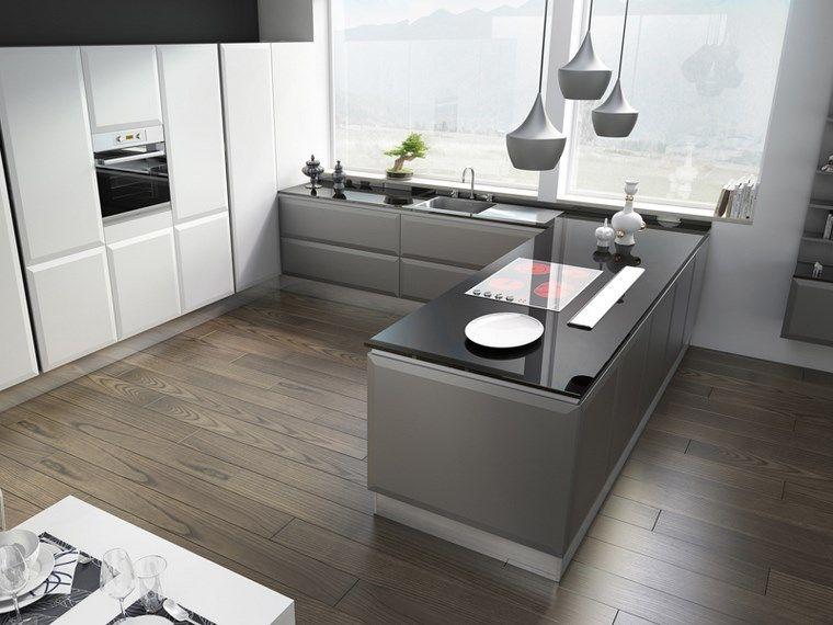 Cocina cuadrada con forma de u o l m s de 50 ideas para - Cocinas en forma de u ...