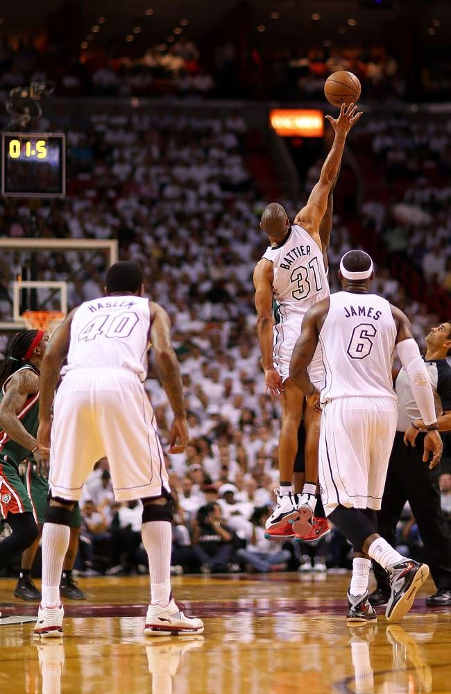 Shane Battier goes for a jump ball during Game 2 of the