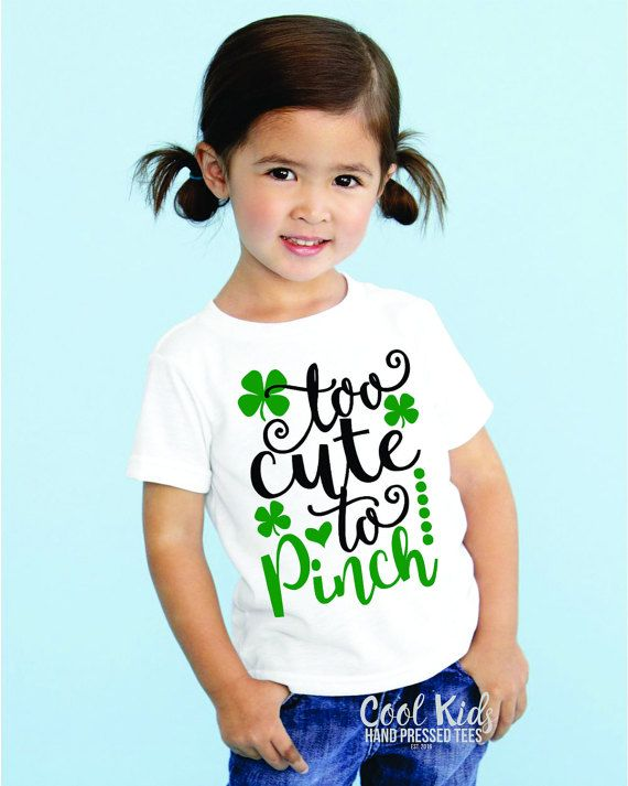 0d5e5bab Girls St. Patrick's Day Shirt, Too Cute To Pinch, Fine Jersey Tee, Girls  Youth Tshirt, Toddler St. Patricks Outfits, Kids Clothing