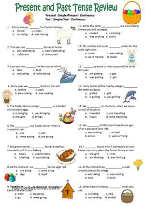 Students have to select the correct tense on this multiple choice test or review sheet. They should focus on the time words to enable them to make the correct choice. There is an Easter theme. - ESL worksheets