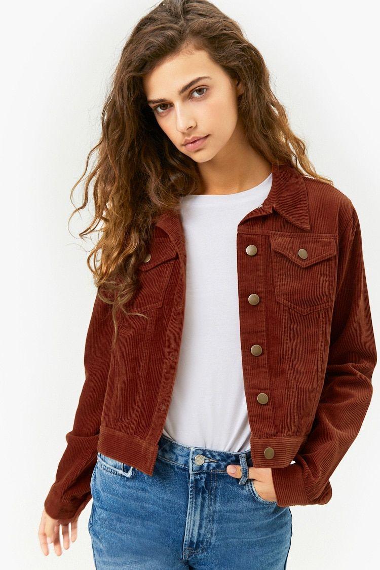 Corduroy Button Front Jacket Denim Jacket Women Cropped Jacket Outfit Denim Jacket [ jpg ]