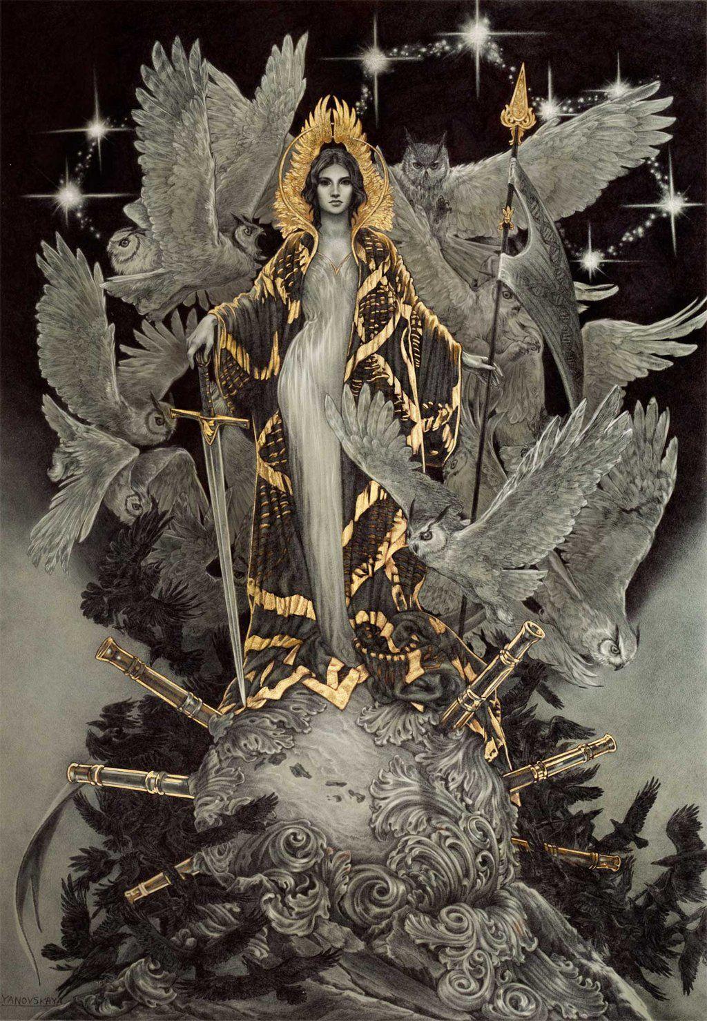 nigra-lux:  YANOVSKAYA, Rebecca (Ryer-Ord-Star) Wisdom2014Ballpoint pen & gold leaf dA - website via
