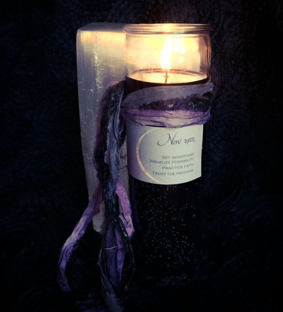 NEW MOON Magic Jar Candle to set intentions by TheSageGoddess