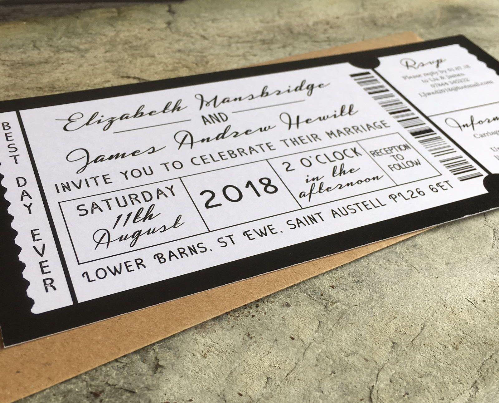 Gig Ticket Themed Wedding Invitations. Personalised wedding ...