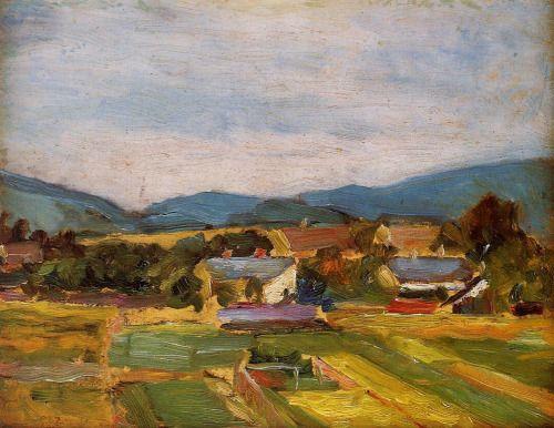 herzogtum-sachsen-weissenfels:  Egon Schiele (Austrian, 1890-1918), Landscape in Lower Austria, 1907. Oil on cardboard,17.5 x 22.5 cm.
