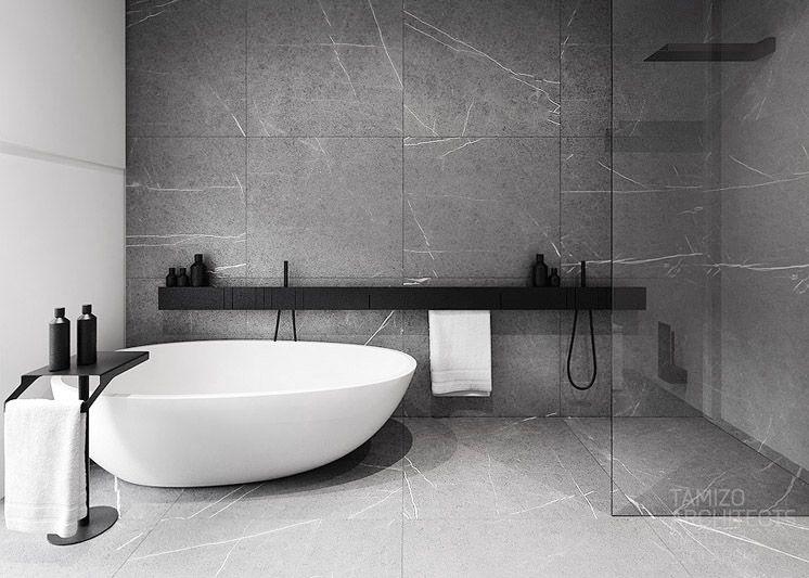 xxl feinsteinzeug fliesen auch mit an der wand verlegt klare linie im badezimmer modern. Black Bedroom Furniture Sets. Home Design Ideas