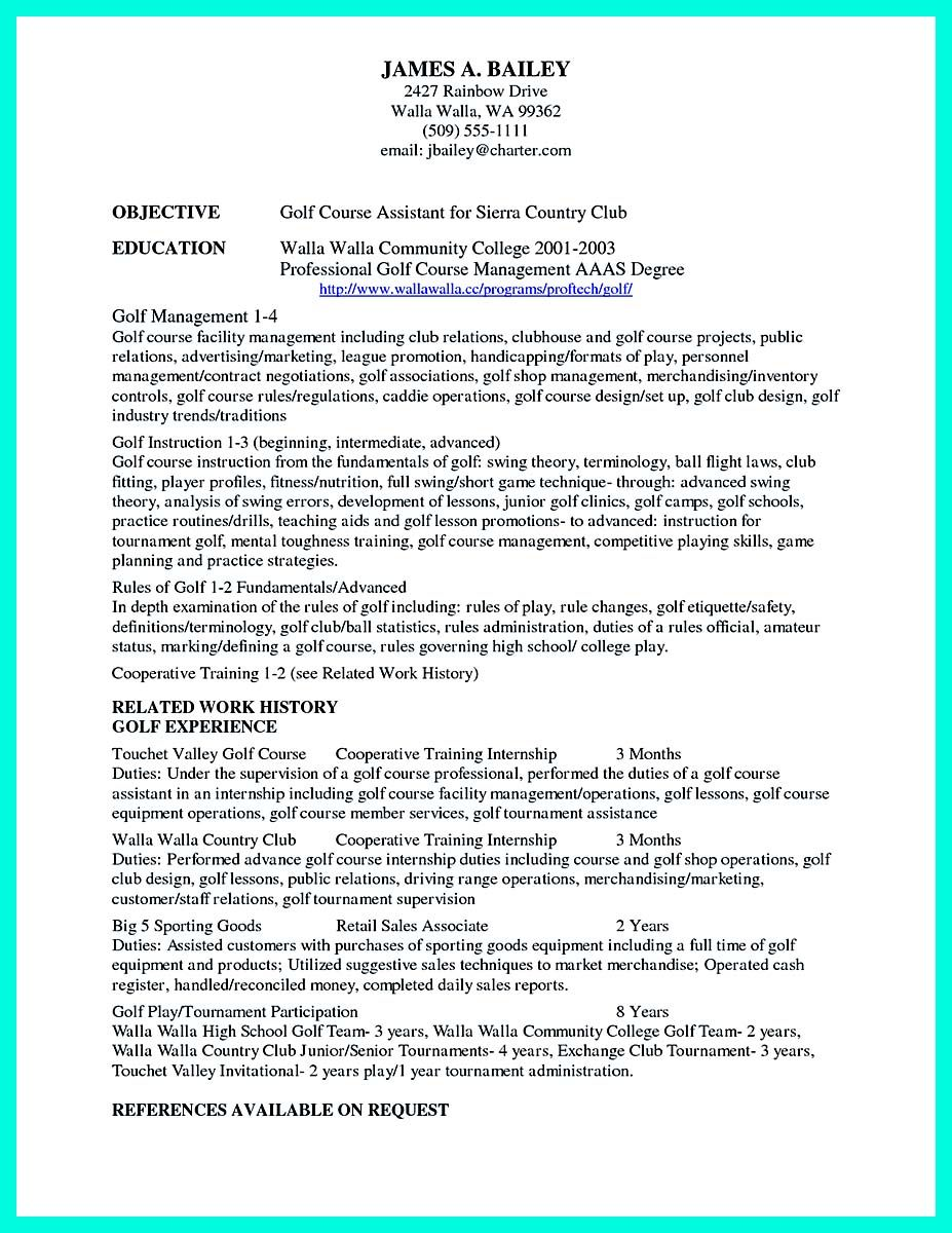 Cool Making Simple College Golf Resume With Basic But Effective Information College Resume College Resume Template Job Resume Examples