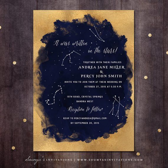 Navy Blue And Gold Constellation Star Wedding Invitation