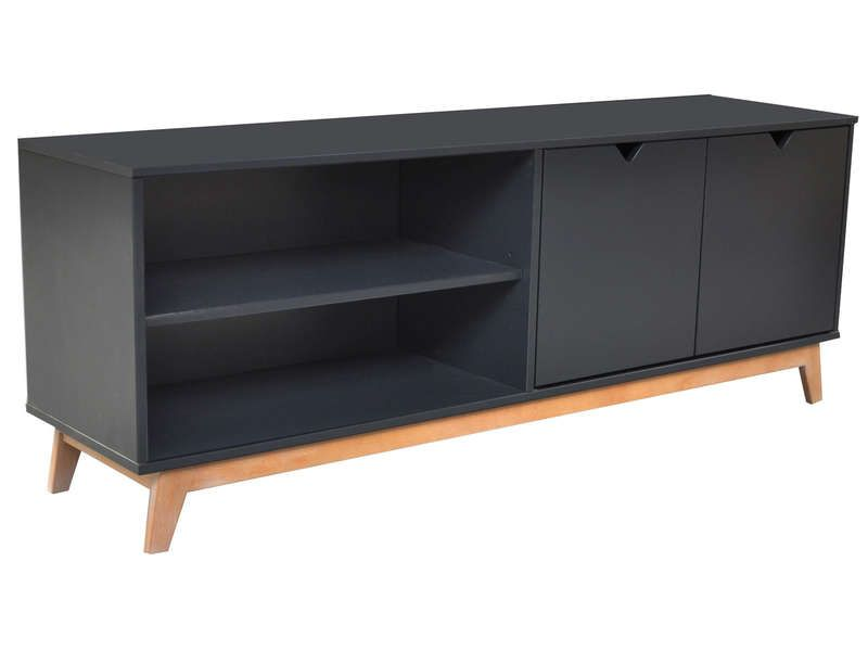 Meuble tv 2 portes 2 niches gaudi coloris anthracite for Meuble tv scandinave 110 cm