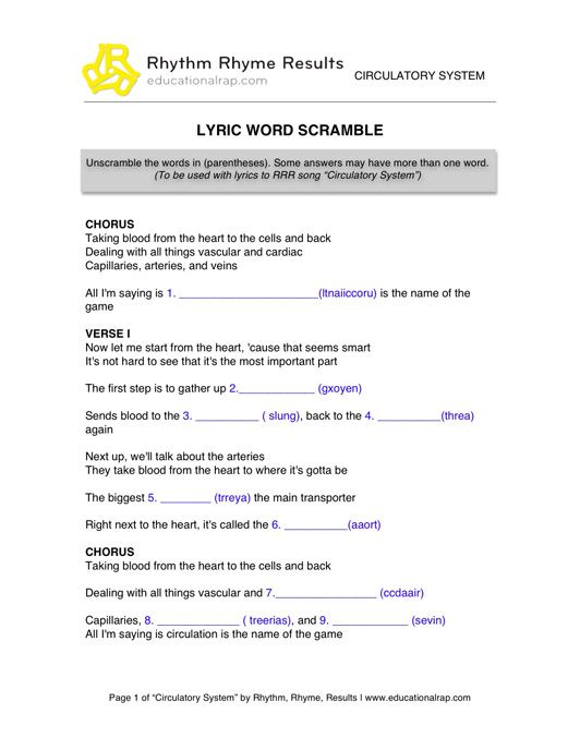 Circulatory System Rap Song With Free Worksheets And