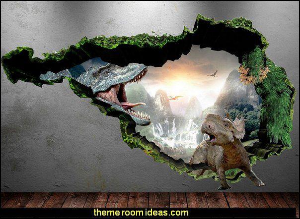 3D Dinosaur Full Colour T-Rex Wall Art Sticker Boys Decal Mural ...