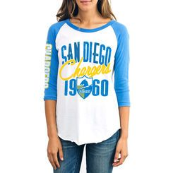 San Diego Chargers Junk Food Women's All American Raglan Three-Quarter Length Sleeve T-Shirt - Cream