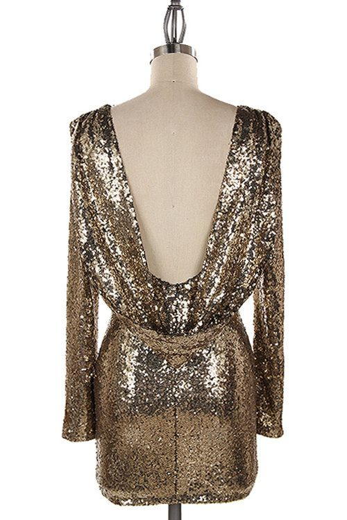 Glamorous Open Back Gold short Gold Sequin Dress by FrugalMughal ...