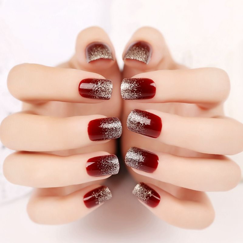 Fashion Flat False Nail Wine Red Glitter Silver Gradient Nails ...