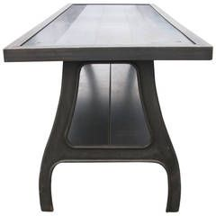 Fabulous Seven Foot Cast Iron And Steel Dining Table