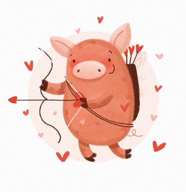 Valentine Illustrations On Behance Valentines Illustration Pig Illustration Valentine Drawing