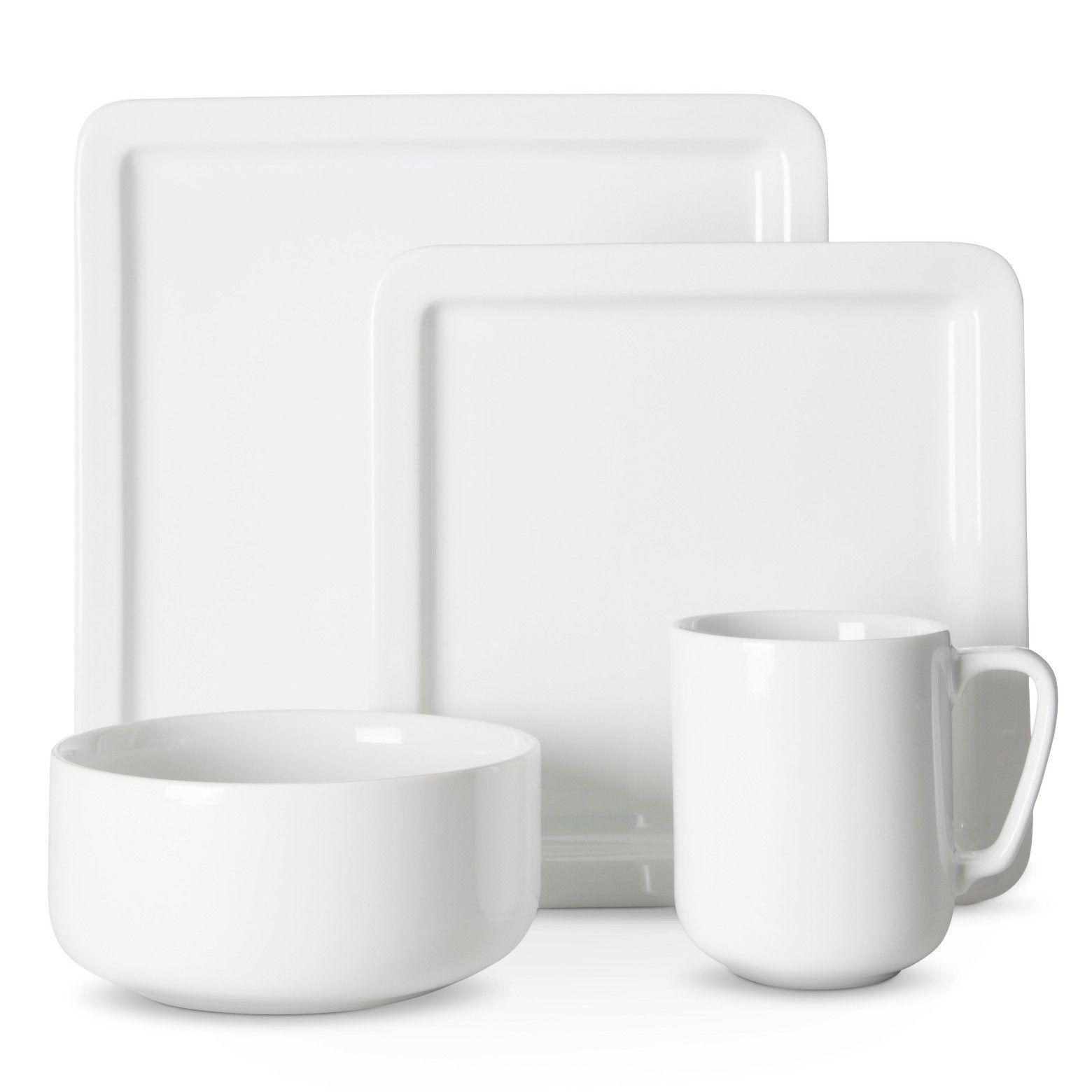 casual modern pc dinnerware set white  threshold  dinnerware  - casual modern pc dinnerware set white  threshold