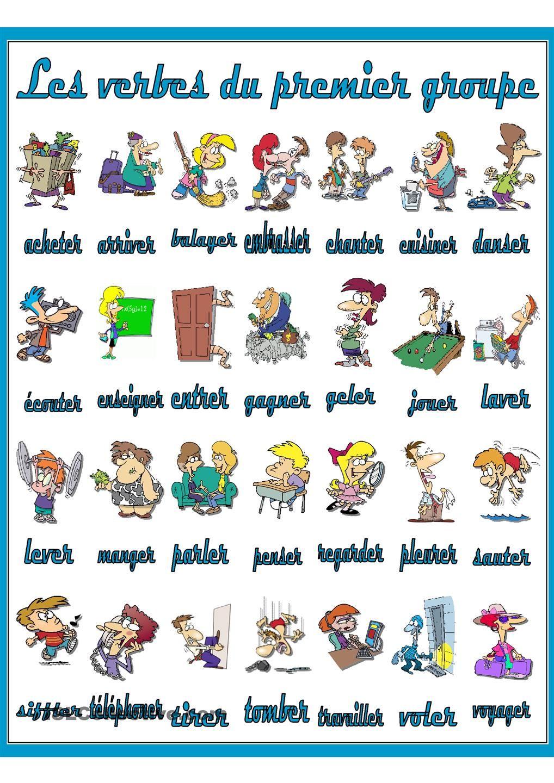 Les Verbes Du Premier Groupe Verbes Francais Mots Francais Verbe