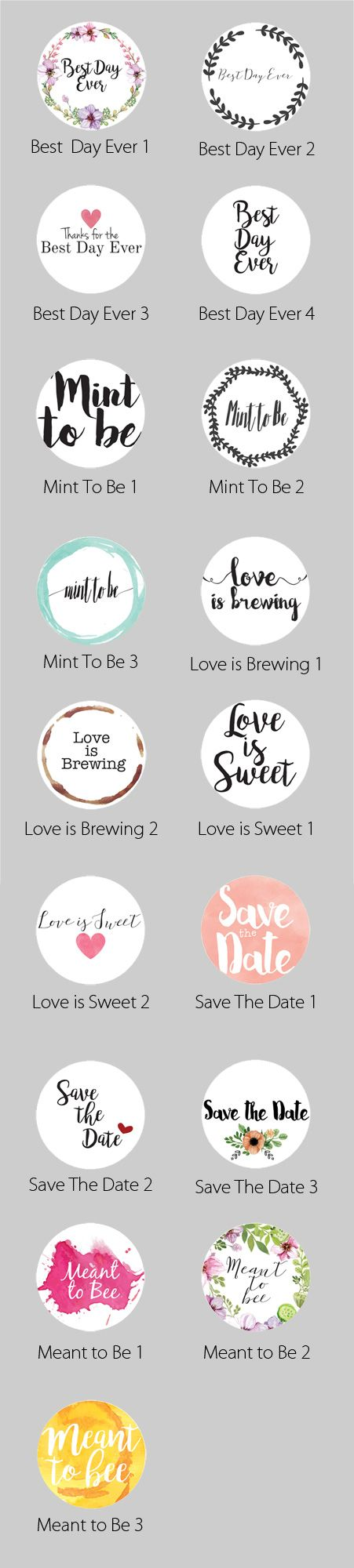 Wedding Themed Circle Label Stickers for Party Favors & Invitations ...