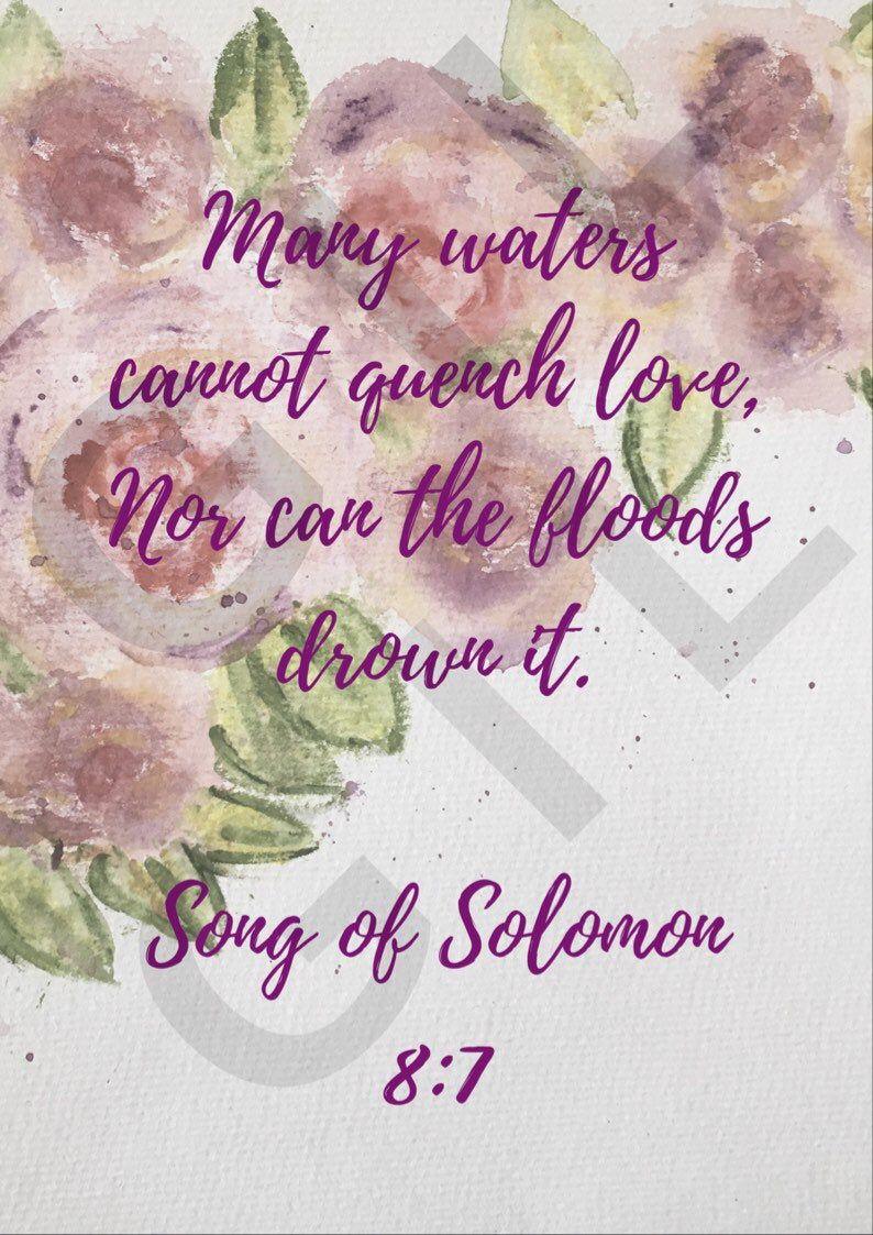 Song of Solomon 8:7 / Wall art / Love Verses / Bible