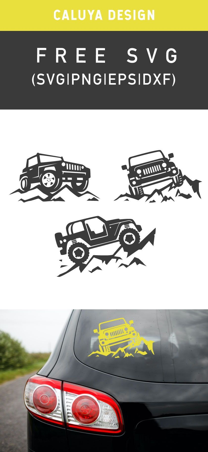 Free Jeep On Mountain SVG, PNG, EPS & DXF by Caluya Design