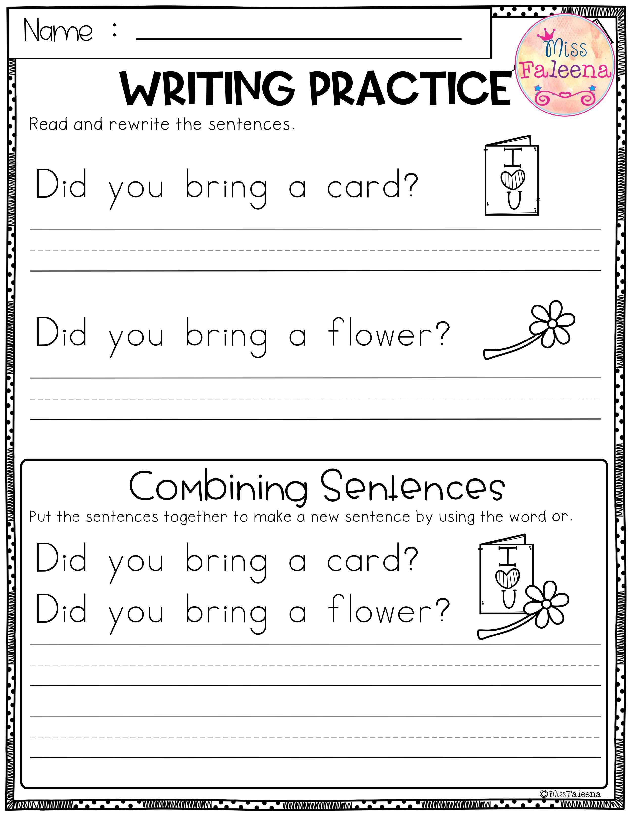 February Writing Practice Combining Sentences