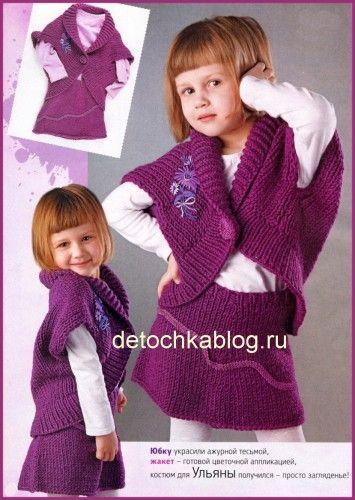 фиолетовый вязаный костюм для девочки вязание костюмов для девочек