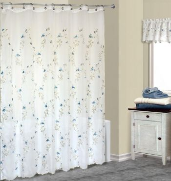 Loretta Blue Embroidered Shower Curtain Fabric Shower Curtains