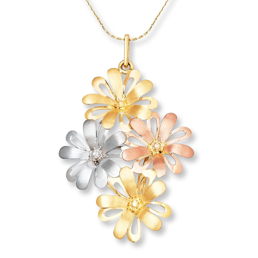 colorful necklaces Email Flower Necklace 14K TriColor Gold