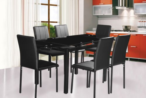 Extending Dining Table And Chairs Red Black Size 110 Cm To 170 Cm