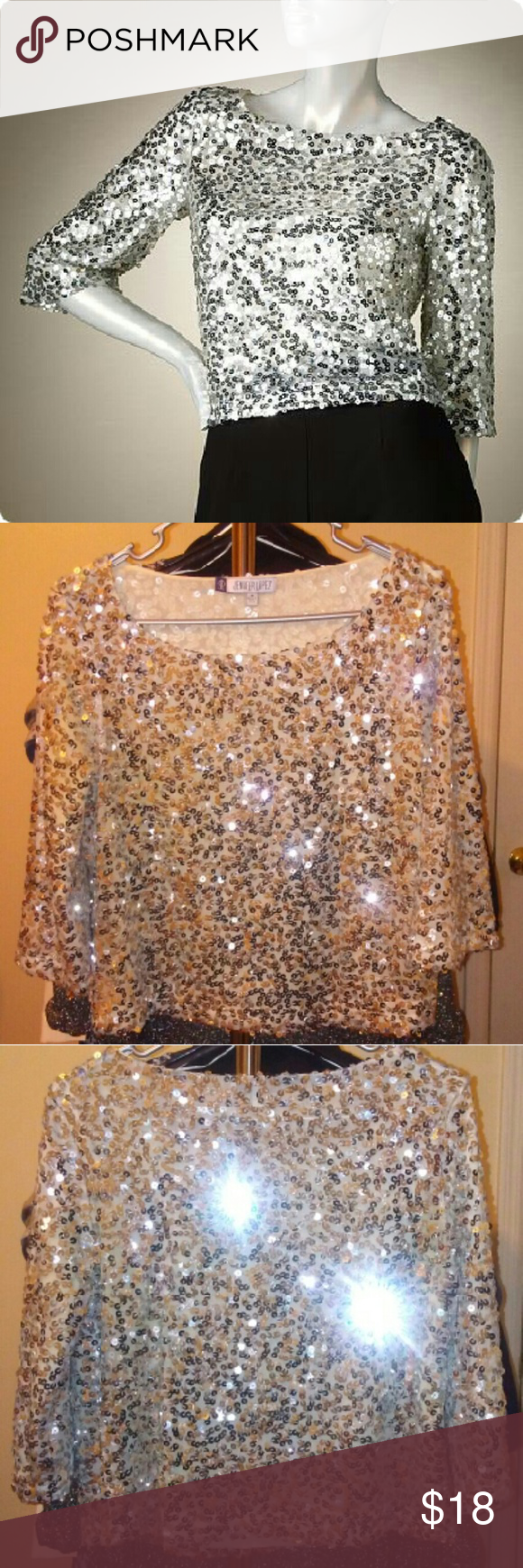 "Jennifer Lopez Sequined Cropped Top 100%polyester, length:20"" Jennifer Lopez Tops Crop Tops"