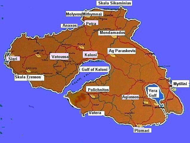 Map of Lesvos Mytilini Greece Holiday destinations Pinterest