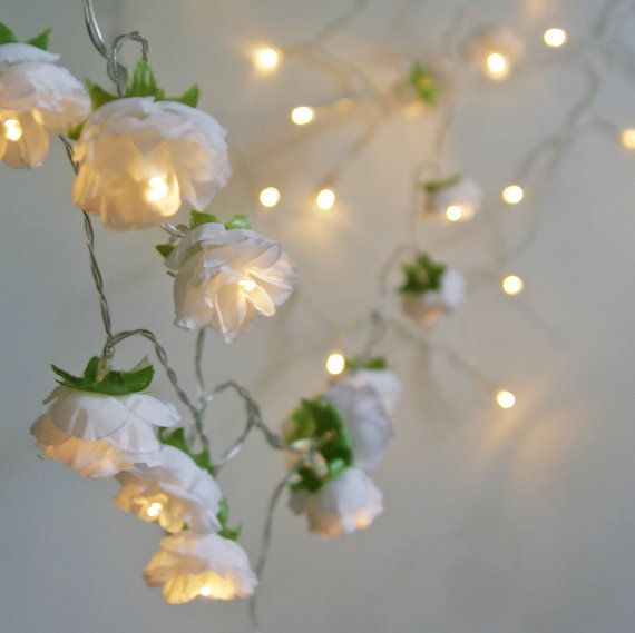 A pretty and ethereal string of 20 pure white rambling roses white rambling rose fairy lights 2015 edition pure white flower string lights perfect for weddings and romantic decor mightylinksfo Image collections