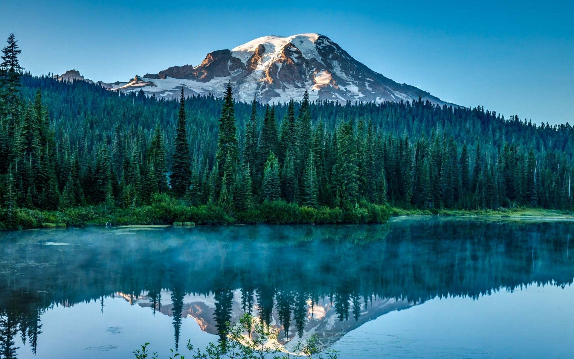 nature, Landscape, Lake, Forest, Snowy Peak, Morning