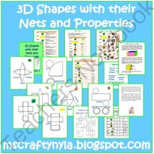 3D Shapes, Their Nets and Properties | Daily Deals | Pinterest