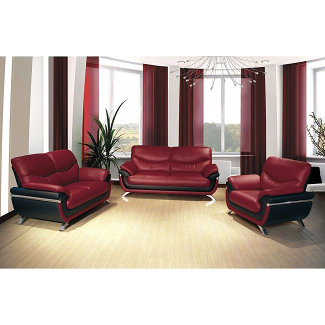 European Alicia Red Black Piece Modern Sofa Set Sofa Set