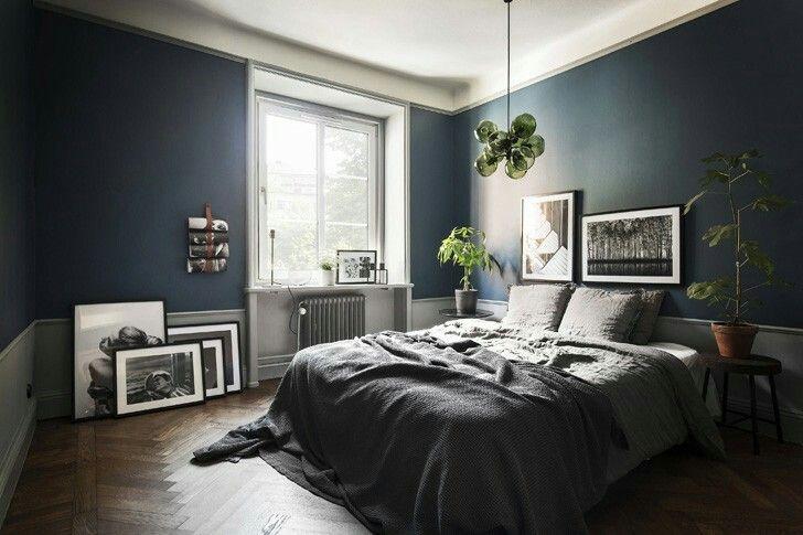 So beautifully aesthetic! | Blue bedroom walls, Dark blue ...