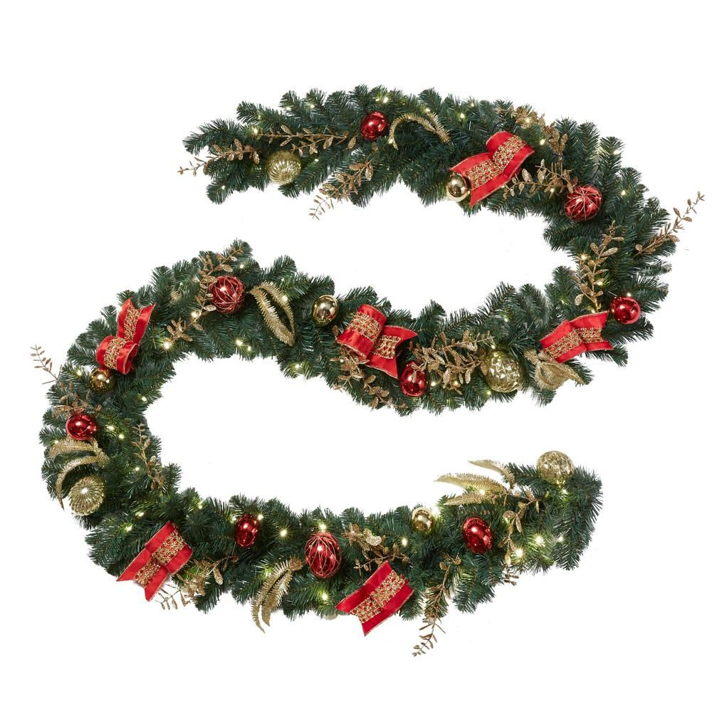 Home Accents Holiday 12 Ft Pre Lit Led New Plaza Artificial Garland With 100 Artificial Garland Decorating With Christmas Lights Artificial Christmas Garland