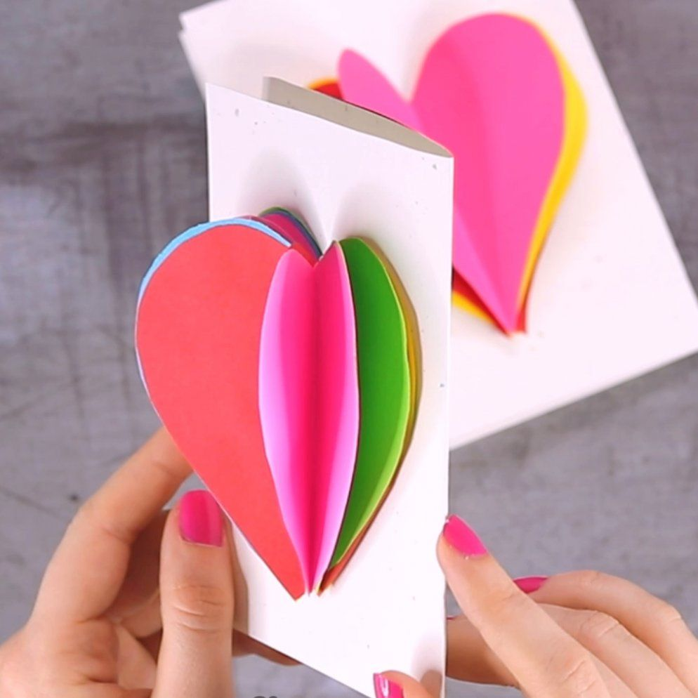 This Bright And Colorful Valentine S Day Card Will Brighten Up Someone S Day Without A Doubt Print Our 3d Heart Card T In 2020 Make Your Own Card Heart Cards 3d Heart