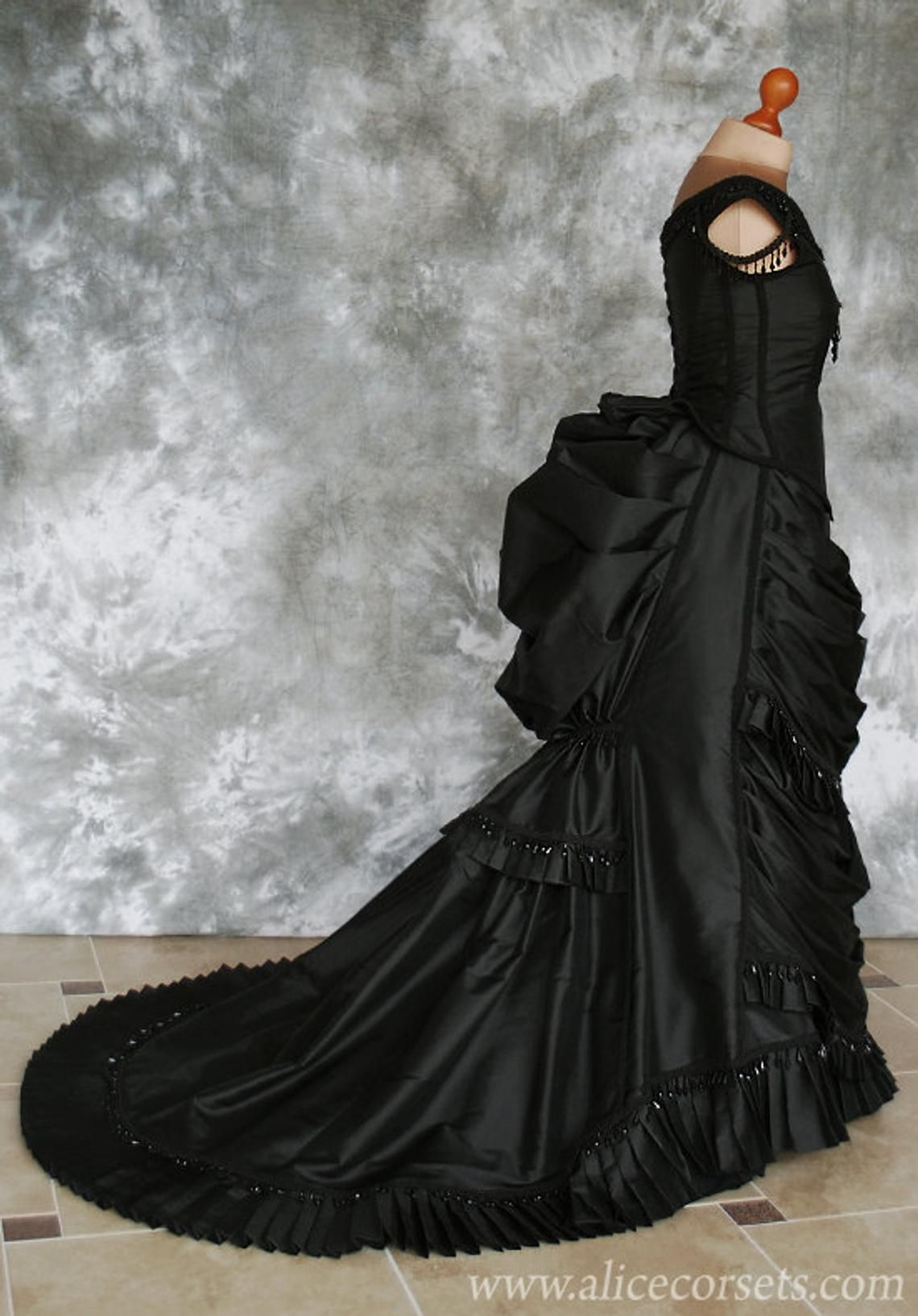 Taffeta Beaded Gothic Victorian Bustle Gown with Train