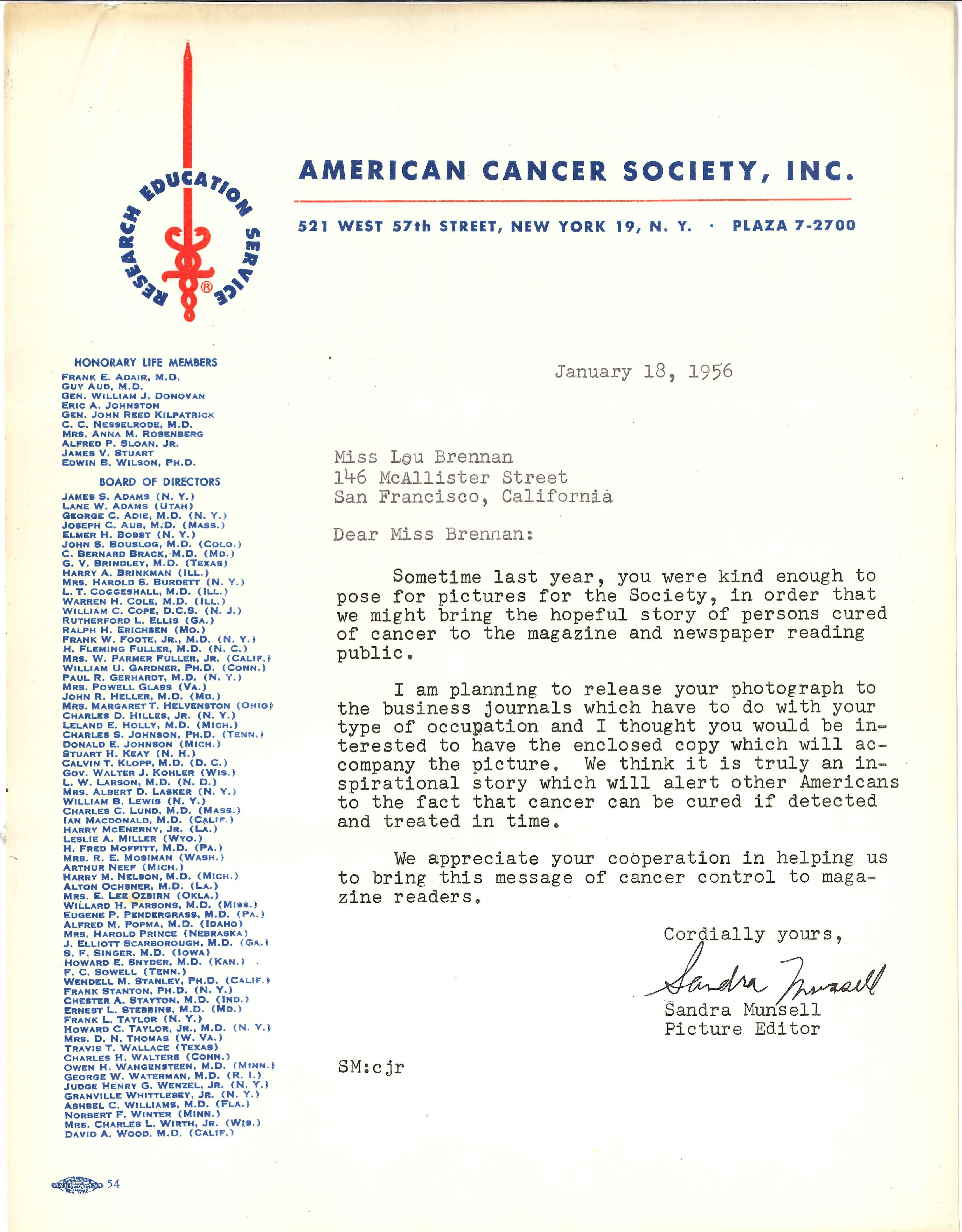 A beautiful letter on official American Cancer Society letterhead ...