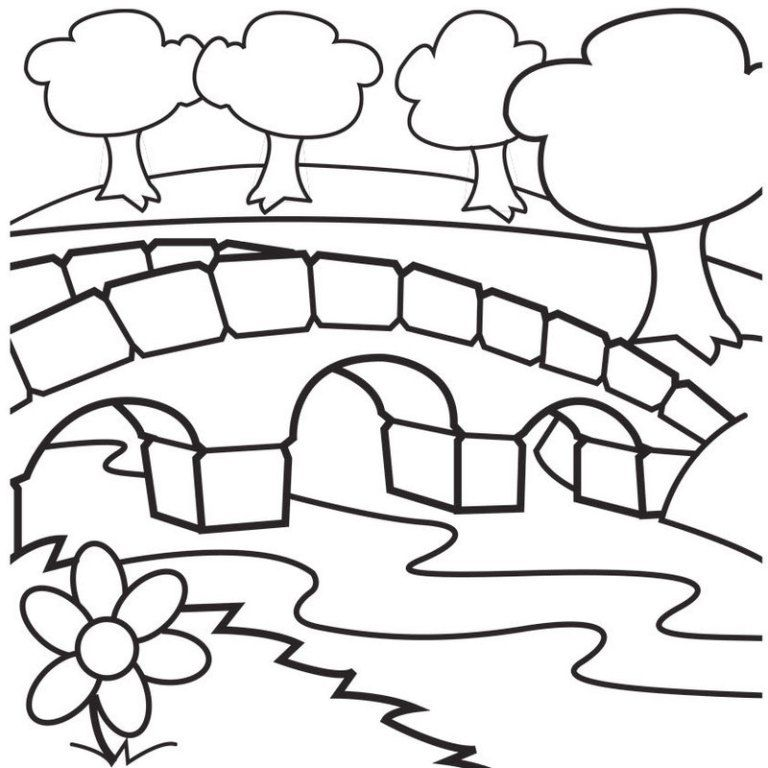 Bamboo Wooden Bridge Coloring Page