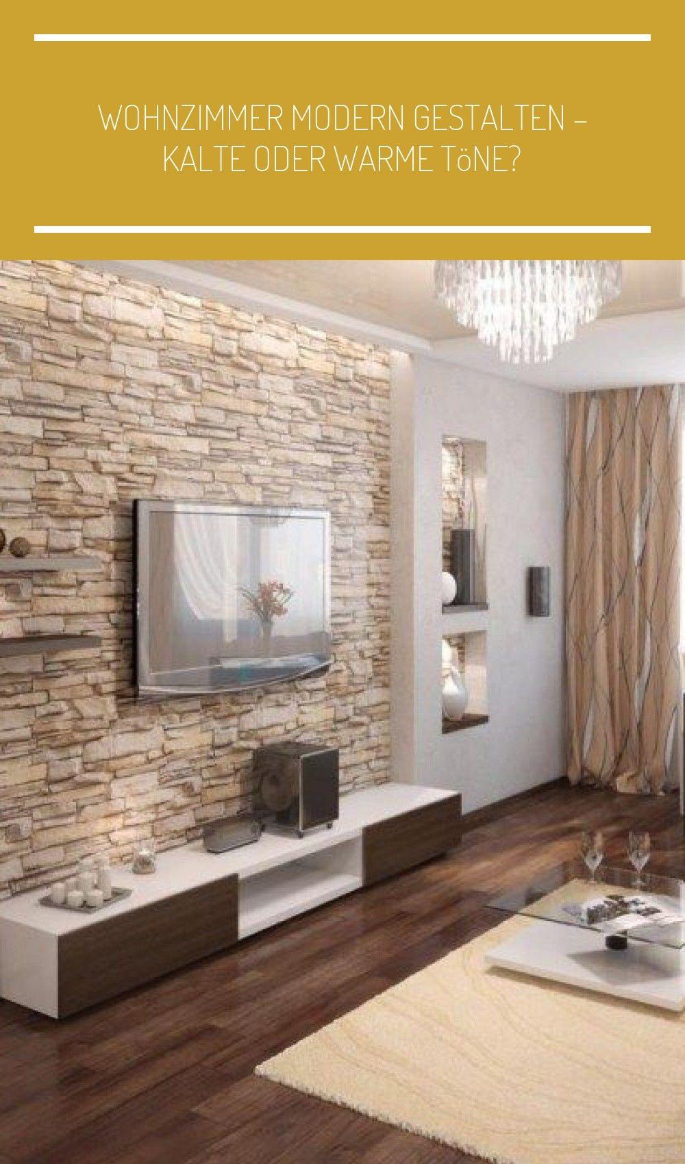 Natursteinwand im Wohnzimmer und warme beige Nuancen #Renovierung