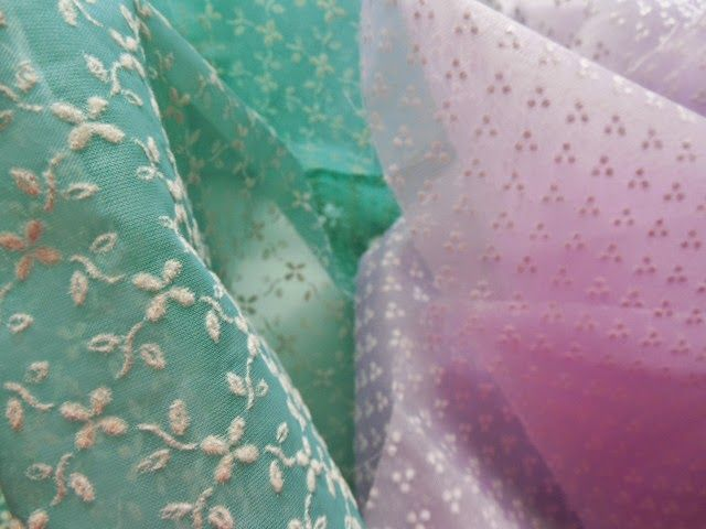 Fabric vintage flocked Green with