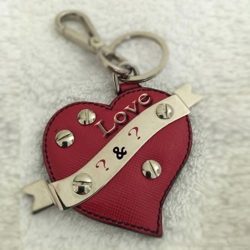 Write Your Name first Letter On Red Leather Keychain Online