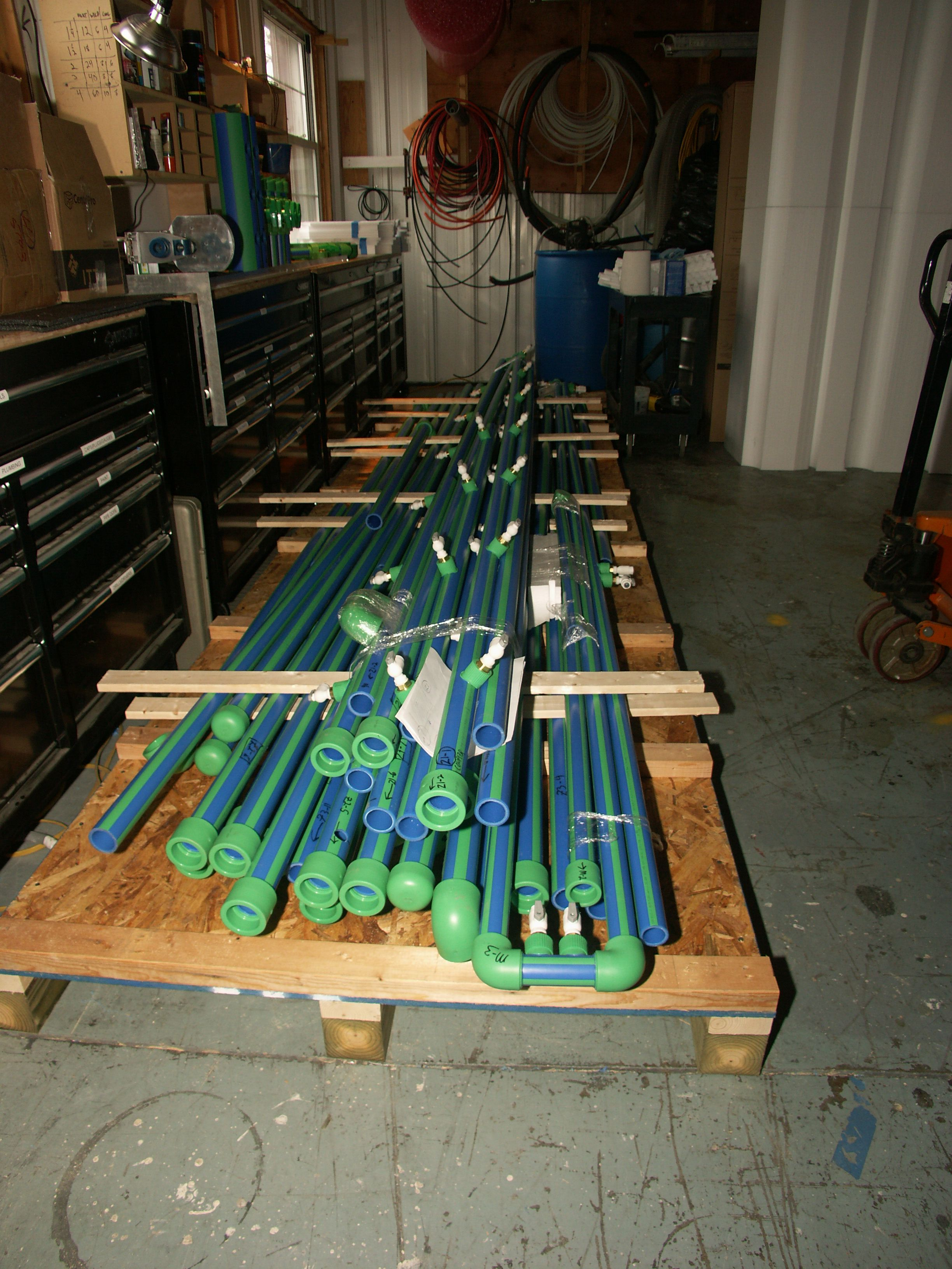 Aquatherm PP-R piping for our supply and return manifolds