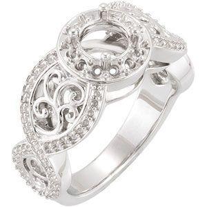 14K White 5.8mm Infinity-Inspired Engagement Ring Mounting | Stuller.com
