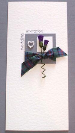 Scottish Wedding Invitation with Tartan Thistles Pearls One