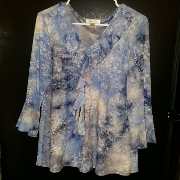 Ruffles pretty  blouse,by dressbarn Some glitz gliter with flower pattern linning stone blue wash n gray .ruffles on sleeves n center v coller Tops Blouses