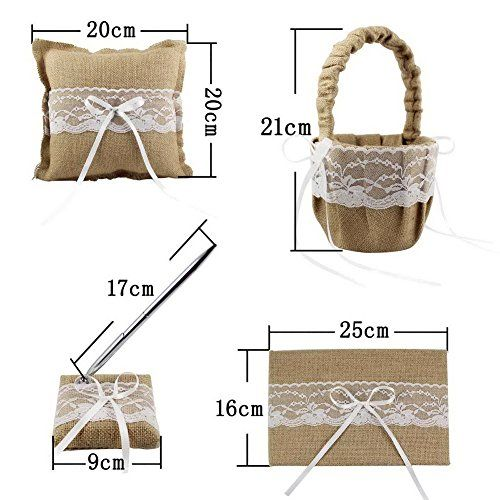 OurWarm Burlap Hessian Lace Wedding Guest Book& Pen Set Ring Pillow Flower Basket Garter Favors Khaki Burlap Lace Rustic Wedding Ring Pillow Flower Basket Guest Book & Pen Set Garter Bridal Favors
